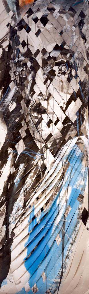 ZU Mischtechnik auf Papier zwei Bilder ineinander geflochten 125 x 57 cm 2015
